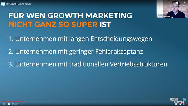 Growth Hacking Meetup - Growth Canvas - Hello Growth Screen - für wen ist Growth Hacking nicht